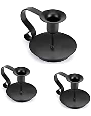 """Retro Wrought Iron Taper Candle Holder, Black Candlestick Holders, Candle Holders for Pillar Candles Candle Holders for Long Candles for Wedding, Dinning, Party Decorations (Black) -3 Pack (3 """"x4.3'"""