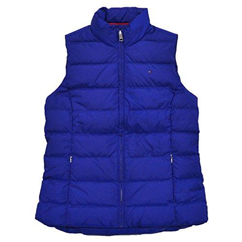 Tommy Hilfiger Womens Mock Neck Puffer Vest (Medium, Blue)