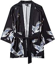 Lomsarsh Men's Coat, Summer Cosplay Japanese Five Point Sleeves Kimono Mens and Womens Cloak Jacke Top Bl