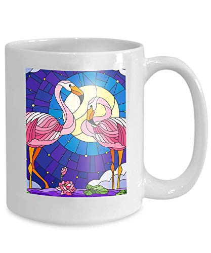 mug coffee tea cup illustration stained glass style pair flamingo lotus flowers reeds pond moon starry sky clouds Beautiful 110z