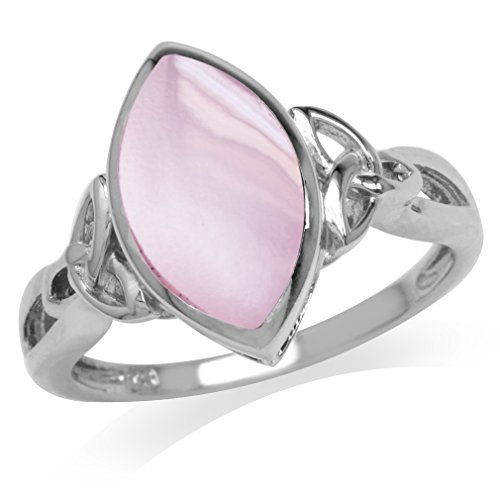 Pink Mother of Pearl White Gold Plated 925 Sterling Silver Triquetra Celtic Knot Solitaire Ring Size 6