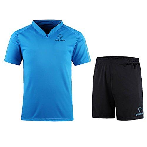 (RIGORER Short-Sleeve Soccer Uniforms Jersey and Shorts Set Sky Blue 3XL)