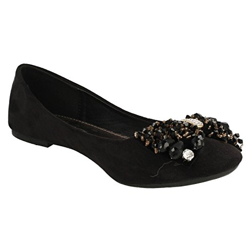 Ladies Spot On Ballerina Shoes Style - F80089 Black 7huyI9p