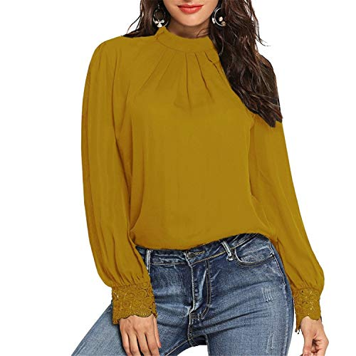 - TIFENNY 2019 Pullover for Womens Solid Pleated Round Neck Lace Tops Long Sleeve Shirt Blouse