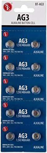SE BT-AG3 AG3 Alkaline Button Cell Batteries (10 Piece)