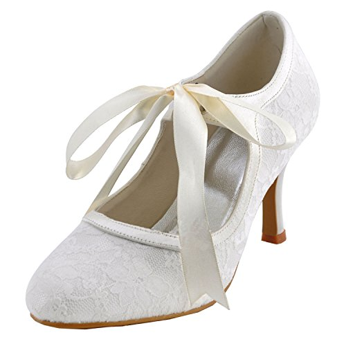 Minitoo Womens Round Toe High Heel Ribbon Mary Jane Ivory Lace Bridal Wedding Shoes Pumps 10 M US