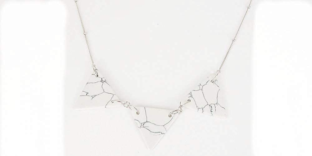 Pine Stone Fashion Bib Necklace Triangle Statement Simple Necklace