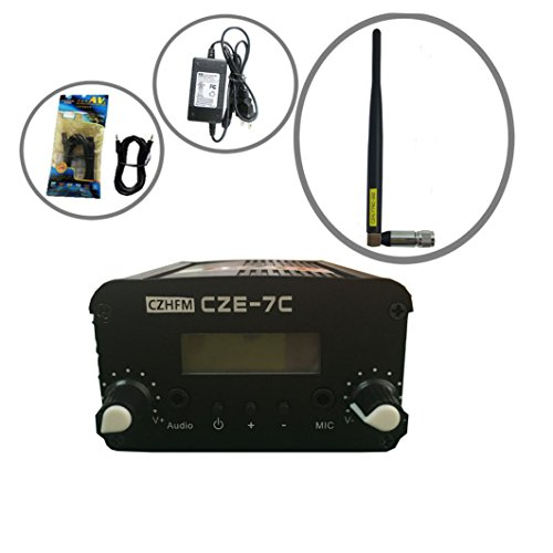 CZH CZE-7C FM Transmitter Mini Radio Stereo Station PLL LCD with Antenna Kit (Best Fm Transmitter Antenna)