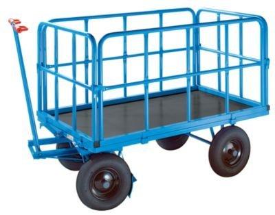 EUROKRAFT Handpritschenwagen - Tragfähigkeit 500 kg, mit 4 Stahlrohrwänden Ladefläche 1170 x 720 mm, Luftreifen - Handpritschenwagen Handwagen Pritsche Pritschen Pritschenwagen