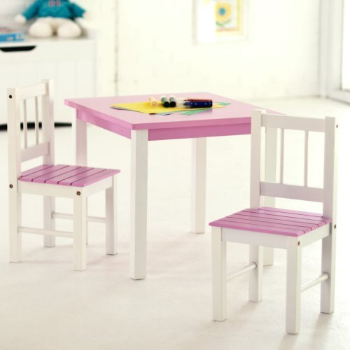 Lipper Kids Small Pink and White Table and Chair by Lipper International