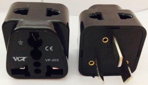 VCT Universal 2 in 1 USA to Australia, China, New Zealand Grounded Plug Adapters(Type I)- 2 Pack