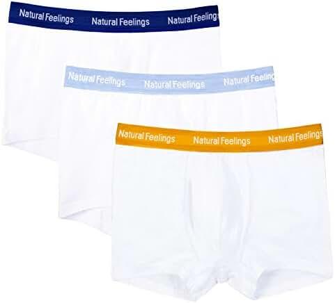 Mens Boxer Briefs White Cotton Boxer Boys and Men's Underwear Men Pack of 3