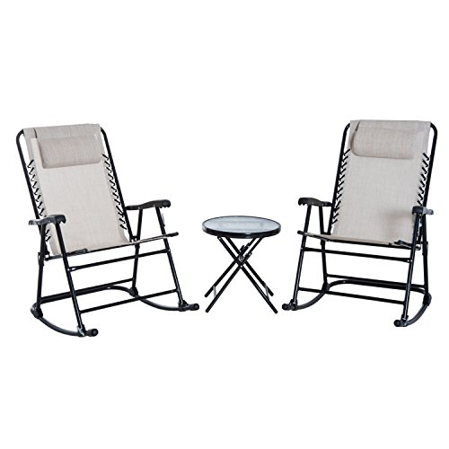 Outsunny Outdoor Folding Rocking Chair Patio Table Seating Set - Cream White (Dining Table Pod)