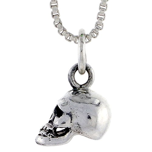 Sterling Silver Skull Pendant, 3/8 inch (10 mm) tall