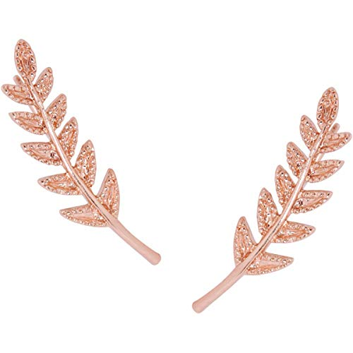 Humble Chic Tiny Leaf Ear Climbers - Delicate Crawler Cuff Stud Jacket Earrings, Rose Gold-Tone, Pink
