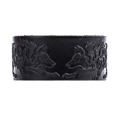 "Real Leather Viking Wolf Bracelet 7.8""-8.5"" Wrist Adjustable Black Cuff Wrap Punk Wristband Stylish Accessory Gift Box from NOVA Leather Craft"