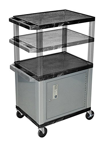 H.Wilson WT2642C4E-N Adjustable Height 3 Shelves Black Tuffy Cart with Cabinet Nickel Legs