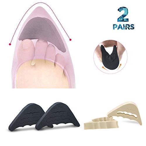 VIEEL 2 Pairs Soft Sponge Big Toe Plug Foot Brace Pads Adjustable Shoe Filler Unisex Shoe Inserts for Men & Women, Pumps, Flats, Sneakers (Black+Beige)