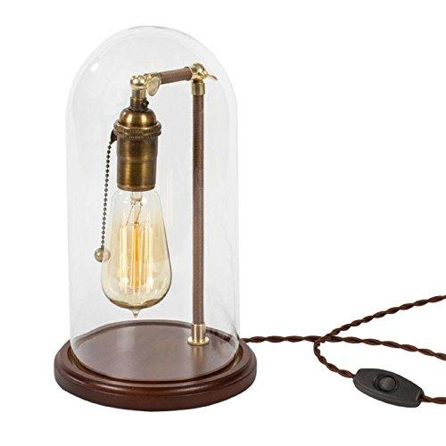 Edison Bulb Desk Lamp - Table Lamp- Edison Bulb Dome Lamp - Vintage Antique  Desk Lamp Industrial Brass & Maple Wood - Edison Bulb Desk Lamp - Table Lamp- Edison Bulb Dome Lamp
