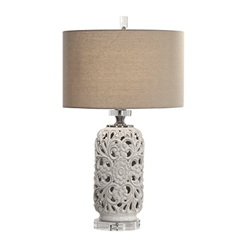 My Swanky Home Embossed Floral Medallion Pierced Ceramic Table Lamp | Cream White Scroll Ornate