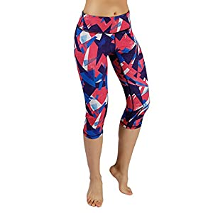 ODODOS Power Flex Women's Tummy Control Workout Running Printed Capris Yoga Capris Pants With Hidden Pocket,TriAngle, Large