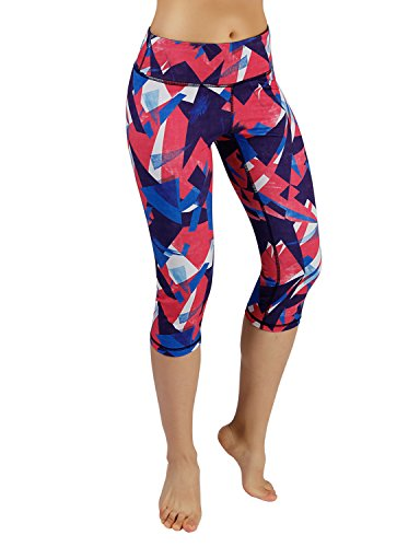 ODODOS Power Flex Printed Yoga Capris Tummy Control Workout Non See-Through Pants with Pocket,Triangle,Large -