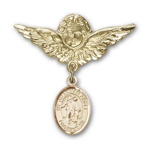 Icecarats Or Bijoux De Créateurs Rempli Ange Gardien Charme Ange Broche De Badge 1 1/8 X 1 1/8