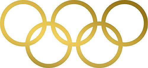ANGDEST Olympic rings logo (METALLIC GOLD) Waterproof Vinyl Decal Stickers for Laptop Phone Helmet Car Window Bumper Mug Tuber Cup Door Wall (Helmet Mug)