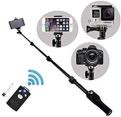 BOKA Retails® 1288 Aluminium Alloy Extendable Selfie Stick with Bluetooth Remote Shutter, Extendable Up to 113.5cm for Other All Smartphone and DSLR Camera's - (Black)