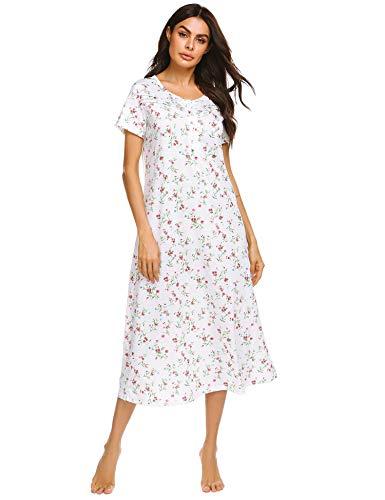 Ekouaer Loungewear Womens Nightgown Short Sleeve Sleepwear