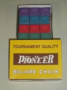 Pioneer - Tiza para palos de billar (12 piezas, 4 colores)