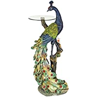 Design Toscano Peacocks Perch Sculptural Glass-Topped Pedestal Table