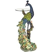 Design Toscano Peacocks Perch Sculptural Glass-Topped Pedestal Table