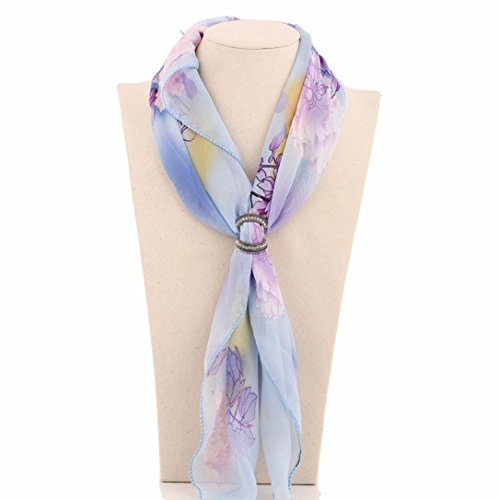 Hunputa Women's Elegant Diamante Double Rings Scarves Buckle,Silk Scarf Clips Jewelry Shawls Accessories - Buckle Silk