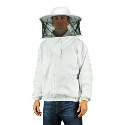 Eco-keeper Professional Grade Bee Suits,(Round hood veil)Beekeeping Jacket with Veil, 1-Unit, White.. 4X Large Size