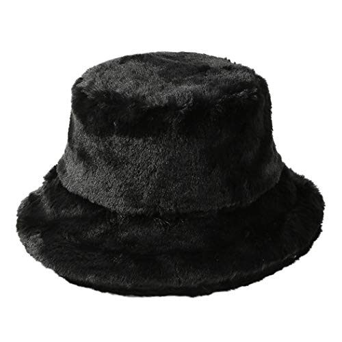 - Tngan Winter Bucket Hat Women Men Warm Hats Vintage Faux Fur Fisherman Cap Black