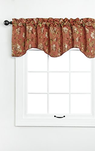 "Renaissance Home Fashion Dahlia Lined Scalloped Valance with Cording, 55 by 17"", Rust"
