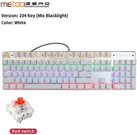 Gaming Keyboard Zero Gaming Keyboard Russian//English//Arabic Mechanical Keyboard 104 Keys USB Wired Keyboard Blue//red Switch Keyboard Axis Body : English, Color : 104white Red Switch