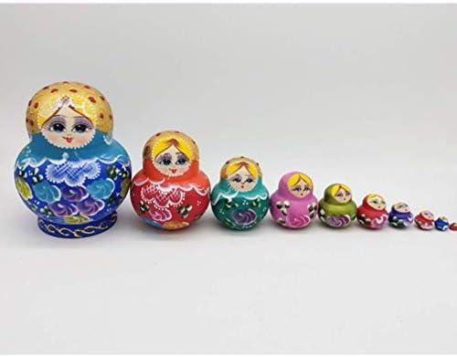 Cxjff Houten Matryoshka Russische Meisje Nestelen Doll Stapelen Doll speelgoed for Kerstmis 10 stuks