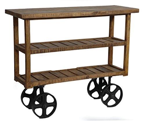Crestview Collection Bengal Manor Mango Wood Industrial Cart