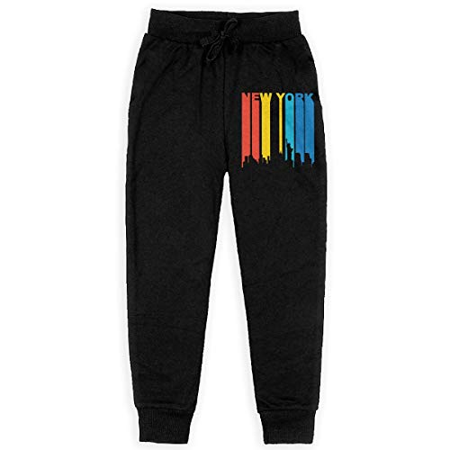 Retro New York City Cityscape Downtown Skyline Soft/Cozy Sweatpants, Youth Sweat Pant for Teenager Girls