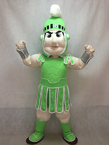 Spartan Trojan Knight Sparty Mascot Costume Custom Color Light Green and White -