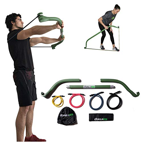 Gorilla Bow Portable Home Gym Resistance Band System Heavy Set, Weightlifting and HIIT Interval Training Kit, Full Body Workout Equipment (Travel Black)