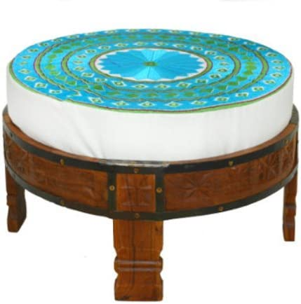 Divine Designs Embroidered Round Petit Ottoman, Turquoise with Kelly Green Accents