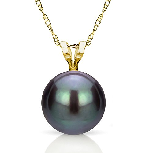 """14k Yellow Gold 8-8.5mm Black Round Freshwater Cultured Pearl Rope Chain Pendant Necklace, 18"""" Anniversary Gift"""