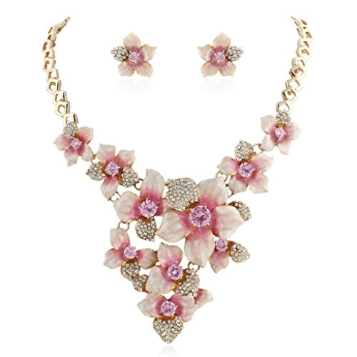 (EVER FAITH Women's Austrian Crystal Pink Enamel Camellia Flower Necklace Earrings Set Gold-Tone)