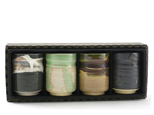 4 Pieces of Japanese Porcelain Sushi Tea Cup Gift Box Set