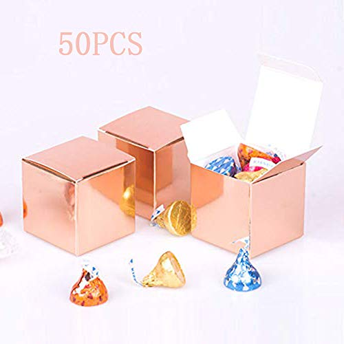 (Rose Gold Candy Boxes Small Gift Boxes 2 x 2 x 2 inch,Square Paper Treat Boxes Party Favor Boxes for Wedding,Bridal Shower,Birthday,Baby Shower,Holiday Celebration Party Supplies,Pack of 50pcs)