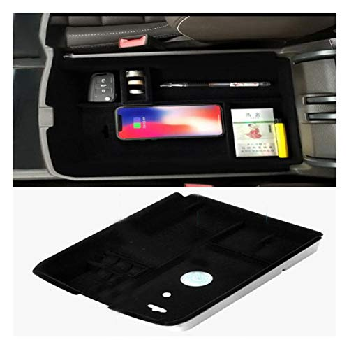Mobile Phone Wireless Charging Central Armrest Storage Box car Accessories with S10+ S10e S9 Note 9, Xs Max XR X 8 Plus for 2017-2018 Volkswagen VW Teramont Atlas