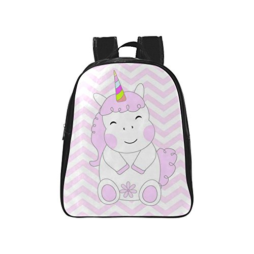 InterestPrint Pink Chevron Stripes Unicorn PU Leather Cus...